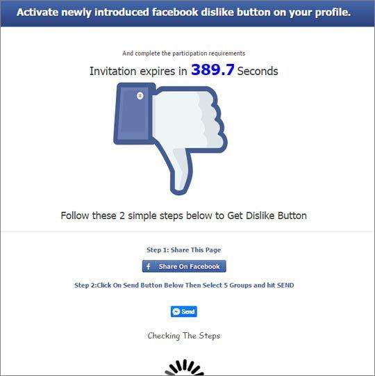 """Facebook : un faux bouton """"j'aime pas"""" piège les internautes"""