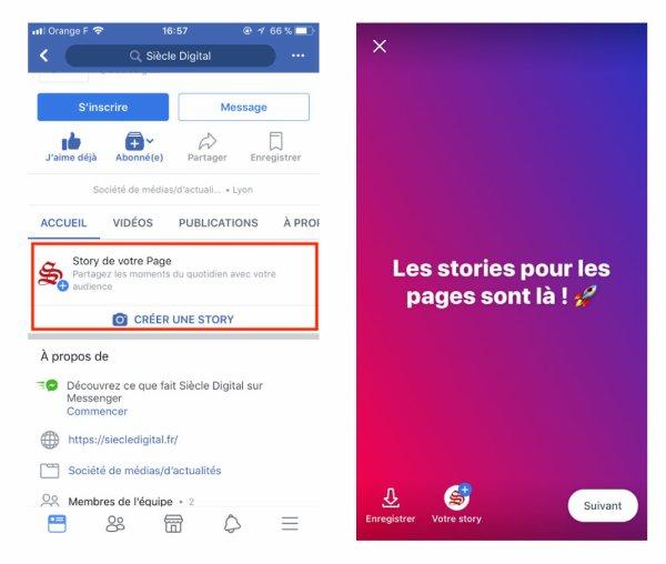 Les Facebook Stories pour les pages sont lancées !