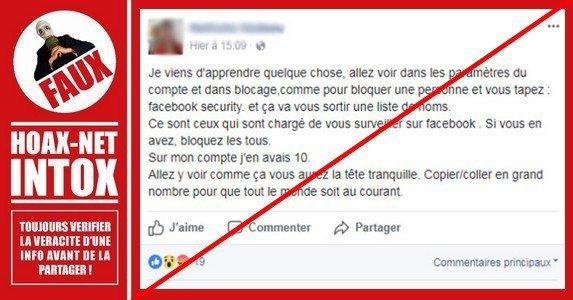 Non, taper « following me » ou « Facebook Security » ne vous montre pas une liste de pirates ou de gens qui vous surveillent.