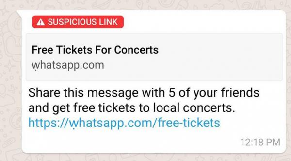 WhatsApp est en train de tester une fonction qui signale les liens frauduleux
