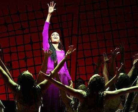 Michelle williams qui joue aida a Broadway célèbre scène théâtrale!