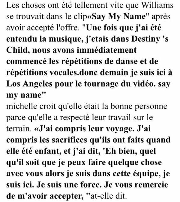 Michelle Williams raconte ces début dans les Destiny s child!
