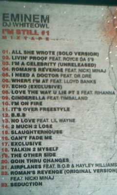 Eminem : I'M STILL : Les Titres de la Mixtape.