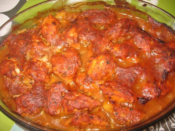 poulet épicé aux pommes de terre au four