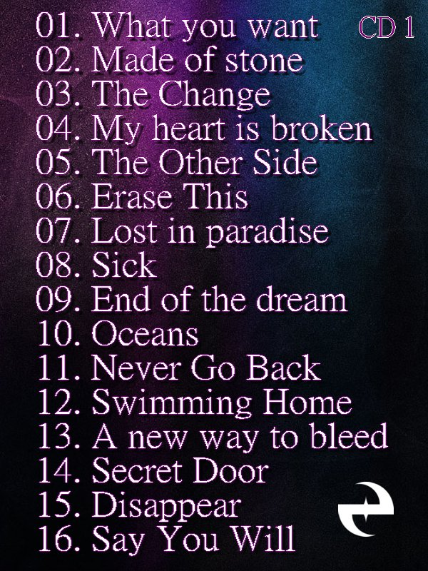 Nous connaissons désormais tous les titres enregistrés par le groupe qui est au nombre de 16. Comme l'a confirmé Amy sur son Twitter, il y aura l'album + une édition deluxe (CD + DVD) qui sortira le même jour ! 11/10/11