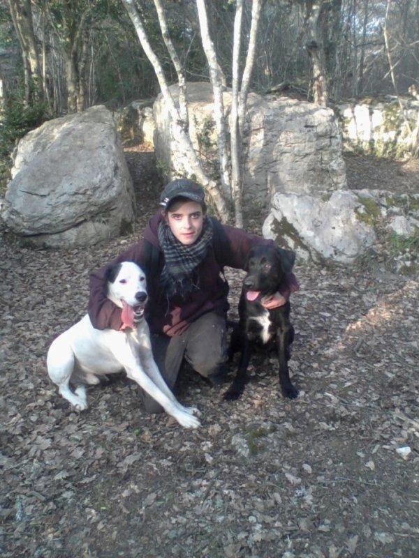 Ma femme et nos chiens