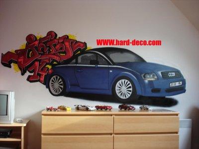 D co voiture chambre graffiti d coration graffiti - Deco chambre enfant voiture ...