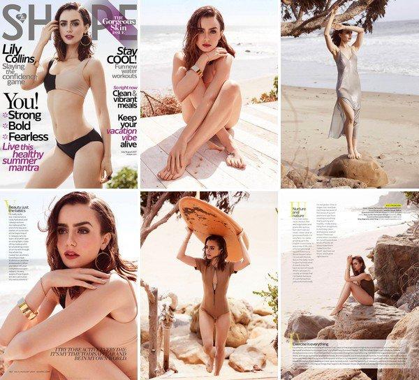 Lily Collins pour Shape Magazine de Juillet/Août 2017