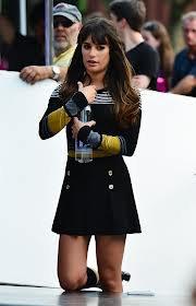 Lea Michele Le 11 Aout 2012 sur le tournage de Glee