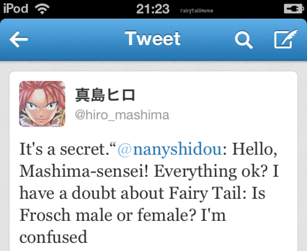 ✪Fairy Tail ▼ Frosh : Mâle ou Femelle ?