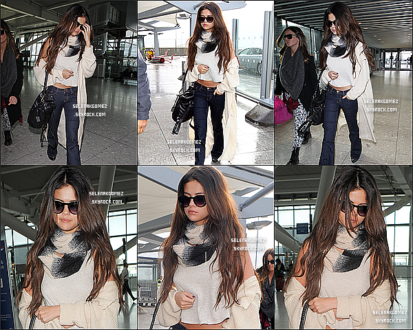 . 18 / 02 / 14 : Selena Gomez à étais vue à l'aéroport de HEATHROW à Londres. Sa tenue, top ou flop ?    .
