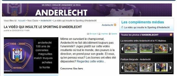 La vidéo anti Anderlecht de Gaara publiée sur le site de sud presse