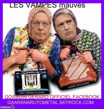 Les Vamps mauves ou toute la stupidité d'un club qui se croit No 1 en Belgique.
