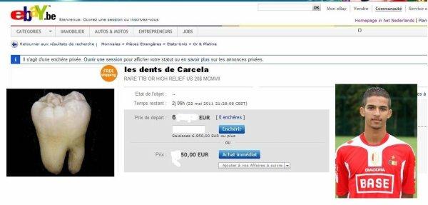 Un steward de genk vend les dents de carcela sur ebay
