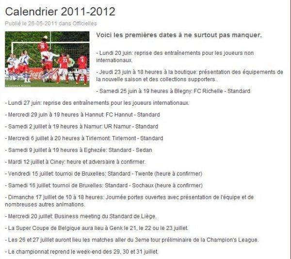 Le calendrier 2011-2012 du Standard