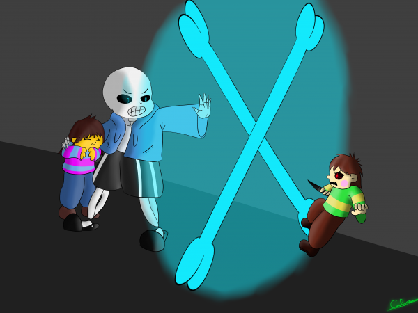 Mysterytale Speedpaint : Chara VS Sans and Frisk