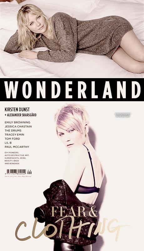 """Magasine&Shoot; Kirsten fait la une du magasine """"Wonderland"""" du mois de Septembre - une fois d'un shooting inconnu est apparue.J'espère qu'on verra plus de photos dans les jours à venir. J'adore le côté naturel de Kirsten sur la photo du haut."""
