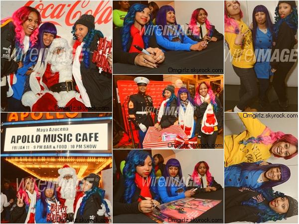 15/12/12: Les filles performant au Amateur Night au Apollo Theatre à New York. Et signant des autographes après le show.