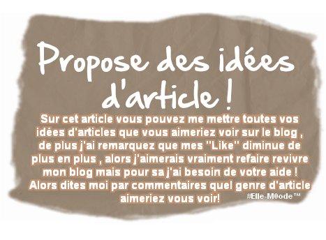 Idées d'articles ?