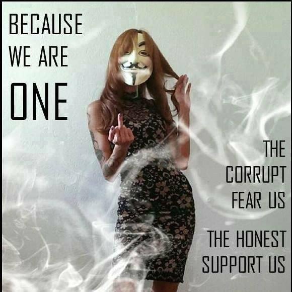 Parce que nous sommes unis: Les corrompus nous craignent, l'honnête nous soutient.