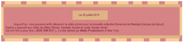 Sommaire Mon blog série Mini Film Boxerina Déco
