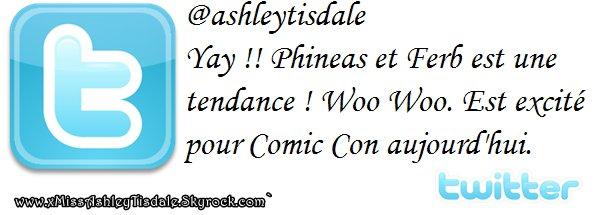 22 Juillet 2011 ◇ Ashley s'est rendue à une conférence de presse de«Phineas et Ferb» (La Convention de Comic Con 2011)àSanDiego enCaliforniepuisqu'elle prête sa voix pour CandiceFlynn dans«Phineas et Ferb».