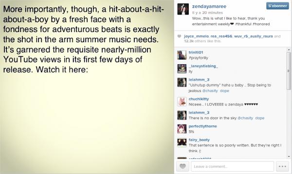 Photos et vidéos du Mobli et du Instagram de Zendaya du 19/07