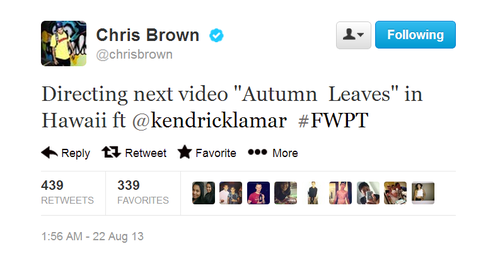 "Prochain single : ""Autumn Leaves"" (feat. Kendrick Lamar)"
