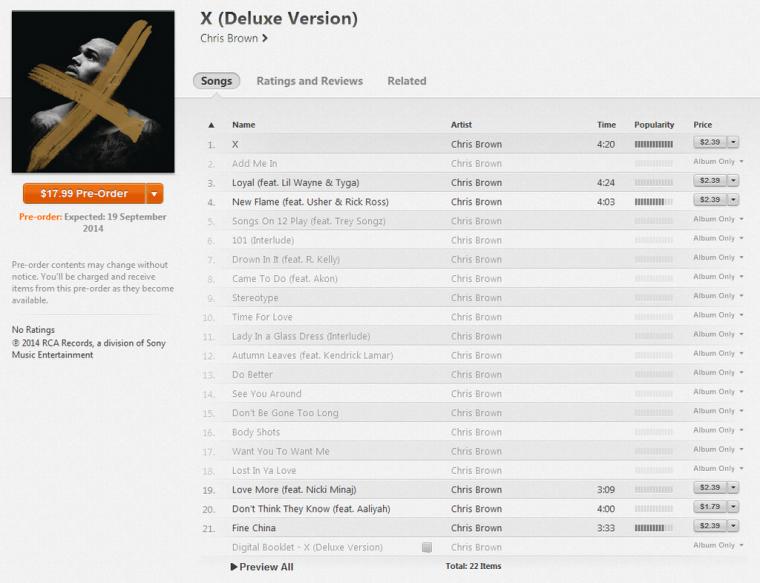 Tracklist de X (en précommande ce Lundi sur Itunes)
