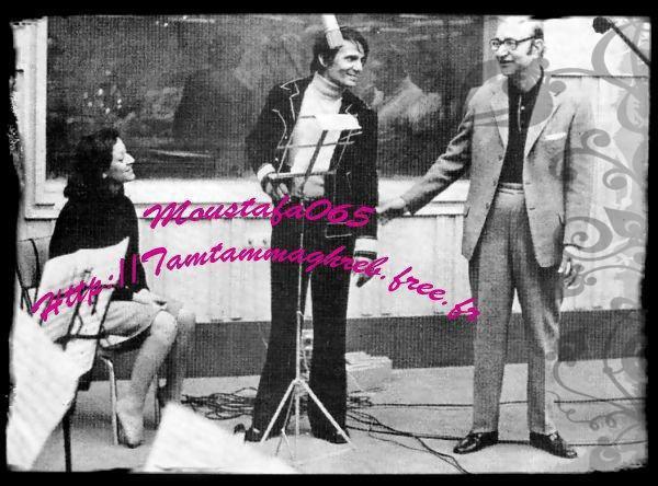 وردة أثناء تسجيل أغنية لولا الملامة مع محمد عبد الوهاب وعبد الحليم حافظ