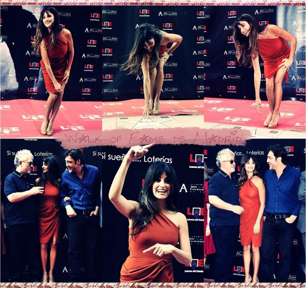 27/06 Penélope a été honorée dans son pays l'Espagne, en effet elle a eu son étoile sur le Walk Of Fame de Madrid ainsi que son mari Javier Bardem et le réalisateur Pédro Almodovar.Sa robe asymétrique est signée Roksanda Ilincic.
