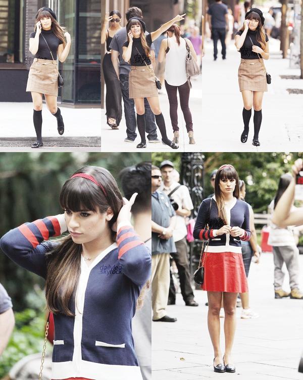 """ON SET// Glee Découvrez des photos de Lea durant le tournage de """"Glee saison 4"""", qui s'est produit à NYC.."""