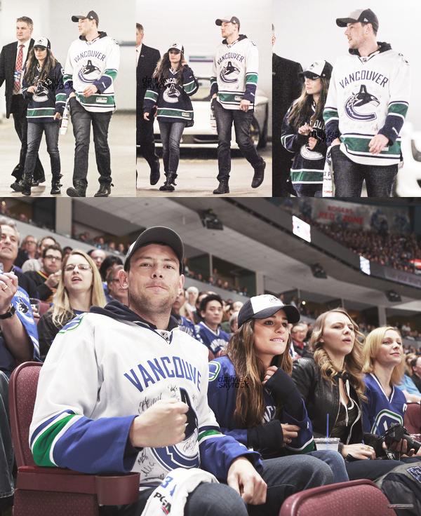 OUT & ABOUT//01 mai 2013 Lea et Cory, son regretté fiancé, assistant au match des Canucks.