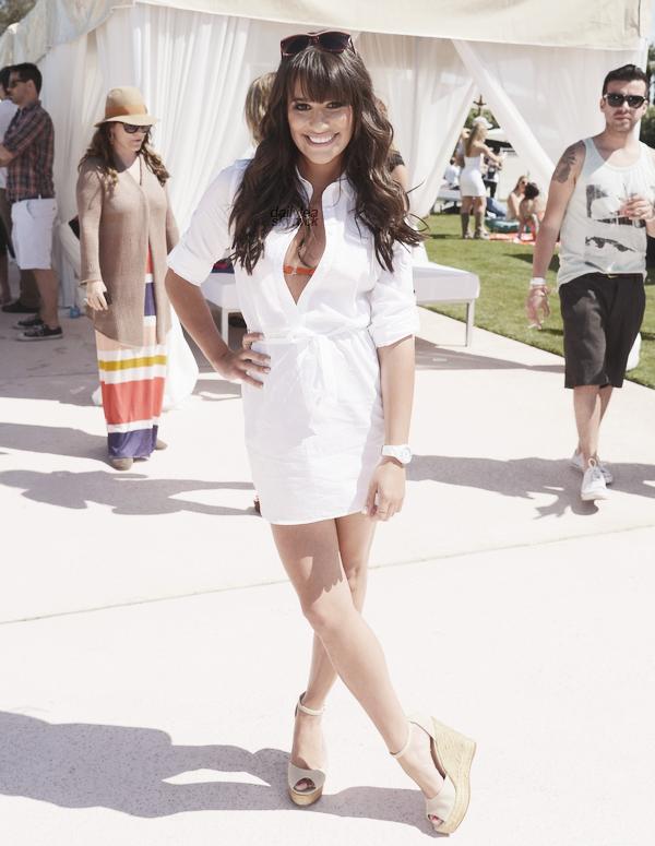 PUBLIC APPEARANCE // 14 avril 2012 Lea, présente au premier jour de la Pool Party organisée par LACOSTE L!VEen l'honneur du festival de Coachella !