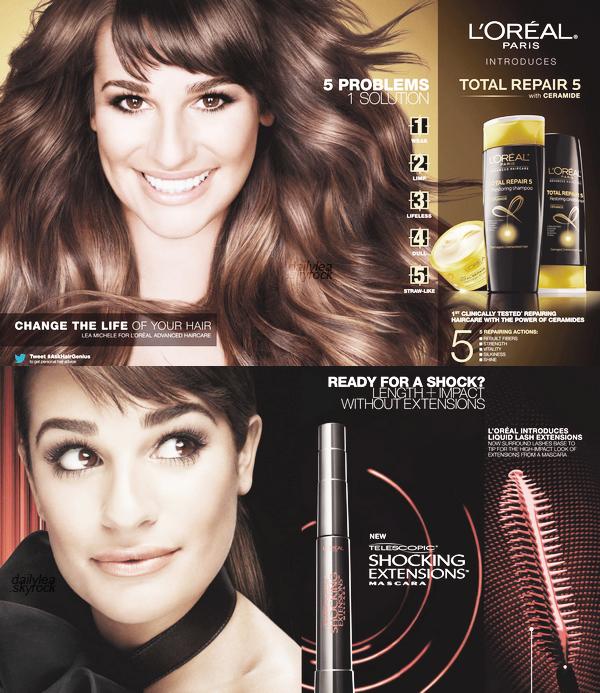 ADS & ENDORSEMENTS//L'Oréal Paris Découvez les posters de Lea lors de la promotion de mascara et produits capillaires.