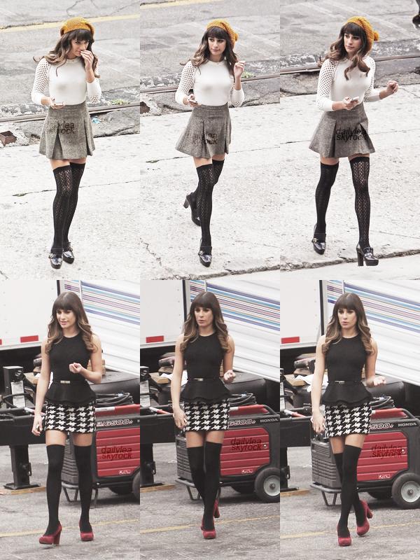 OUT & ABOUT // 15 octobre 2013 Lea sur le tournage d'un épisode de Glee.