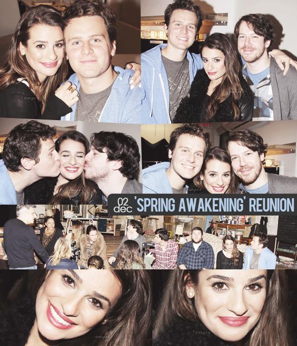 """PUBLIC APPEARANCE // 02 décembre 2013 Lea et l'équipe de """"Spring Awakening"""" lors de la réunion anniversaire de la comédie musicale."""
