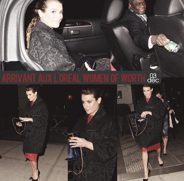 OUT & ABOUT // 03 décembre 2013 Lea a été vue arrivant à l'événement L'Oréal Women Of Worth à New York.