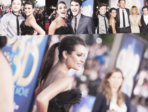 """PUBLIC APPEARANCE // 06 août 2011 Lea et ses co-stars étaient présents à la première du film """"Glee The 3D Concert Movie""""."""