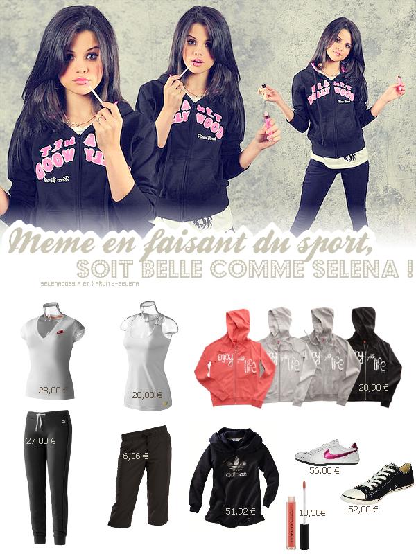 --_SelenaGossip_ Ta source sur Selena Gomez •  Rubrique Mode - Article en collaboration avec l'adorable webmiss de xFruity-Selena.  -  La belle nous montre que même en tenue de sport, on peut avoir du style & être belle.  Petit + : Le gloss met une touche de féminité à la tenue.  On adopte sans hésiter ! -