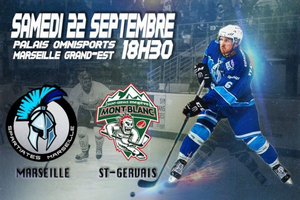 Match Hockey événement de ce samedi 22 Septembre.  Les Spartiates reçoivent les Yétis du Mont Blanc à 18 h 30 pour le 1er match de Division 1 à domicile.