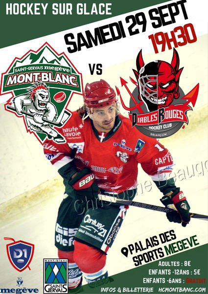 Megève : Le Samedi 29 septembre 2018 à 19h30.  Hockey sur Glace Match Division 1 Mont-Blanc / Briancon