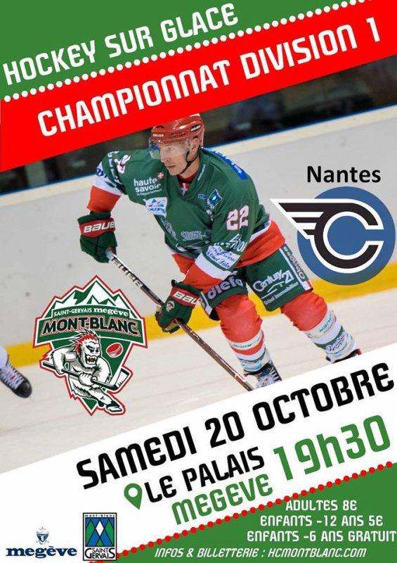 Hockey sur Glace Match Division 1 Mont-Blanc / Nantes 20 Octobre au Palais Des Sports à Megève 19 h 30