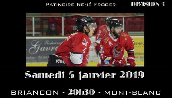DIVISION 1 : à la Patinoire René Froger  Diables-Rouges vs mont-Blanc 5 janvier 2019 : 20 H 30