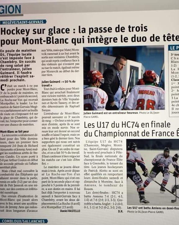 À lire dans la presse :  Info hockey Mont Blanc Yetis