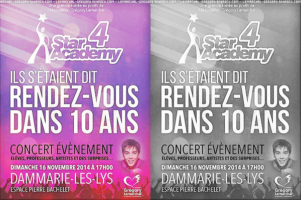 Concert événement : Ils s'étaient dit rendez-vous dans 10 ans, par la Star Academy 4 ! Le concert se déroulera le dimanche 17 novembre à Dammarie-les-lys à 17h avec élève, professeur, artiste etc, au profit de l'association..