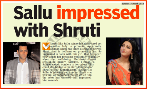 Article Bollywood hero Salman Khan impressed with Shruti