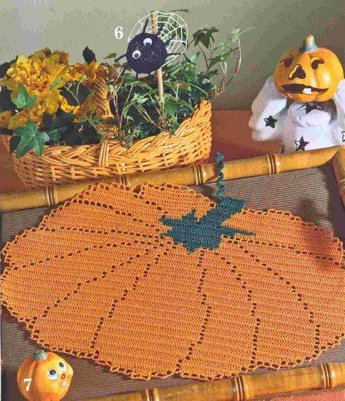 "Napperon ""Halloween"" courge orange"