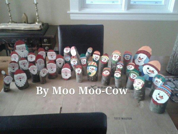 Au Canada, jolies décos faites avec des bûches... moi, j'en mettrais bien 2 ou 3 dans mon jardin... Trop bôoooooo !  Bravo à  Moo Moo-Cow