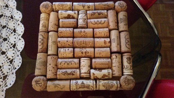 Mes sous-plats en bois et bouchons de lièges, commandes pour Noël 2015